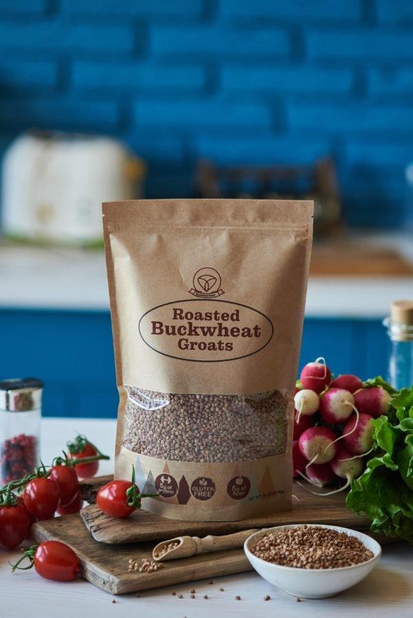 roasted buckwheat groats packaging blue wall